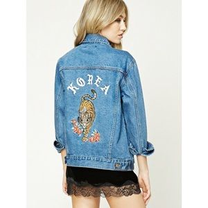 Forever 21 Embroidered Jean Jacket